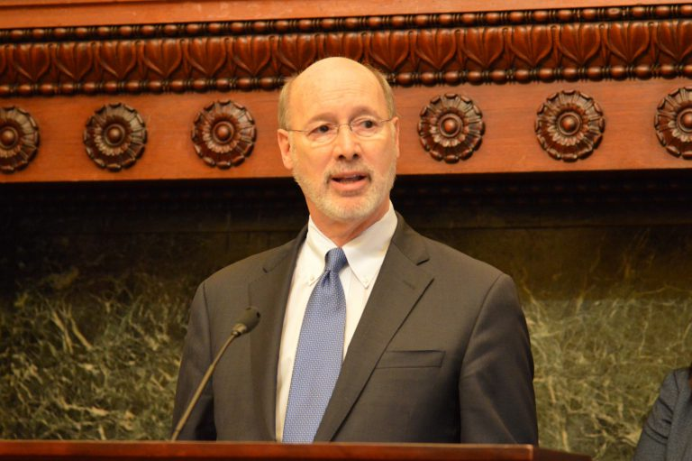 Gov. Tom Wolf at Philadelphia City Hall Wednesday vows to veto legislation that further restricts the availability of abortions in the state.(Tom MacDonald/WHYY)