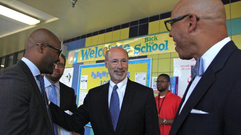Gov. Tom Wolf, center, visits William H. Hunter School in North Philadelphia in 2015. (Emma Lee/WHYY)