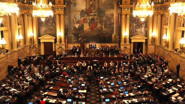 Gov. Tom Wolf is shown delivering his budget address for the 2016-17 fiscal year. (AP Photo/Chris Knight