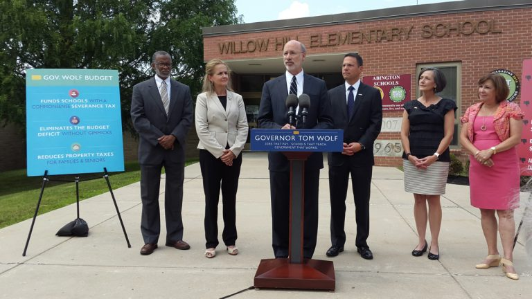 Pennsylvania Gov. Tom Wolf talks about his budget priorities Monday at the Willow Hill Elementary School in Abington Township. (Laura Benshoff/WHYY)