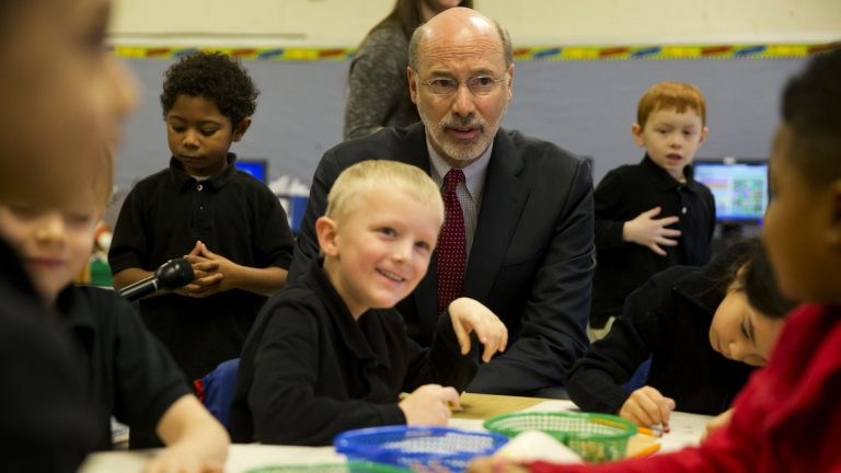 Gov. Tom Wolf visits Caln Elementary School in Thorndale, Pa., in 2015. Wolf's proposed budget for the coming year would increase aid to public schools.( AP Photo/Matt Rourke)