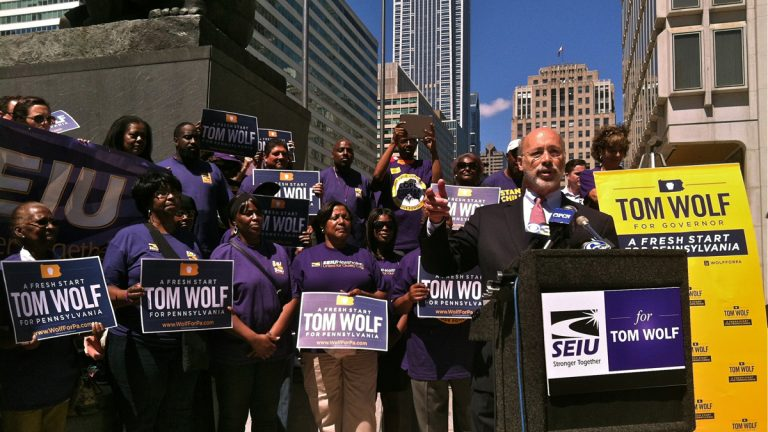 Tom Wolf accepts the endorsement of the Service Employees International Union. (NewsWorks file photo)
