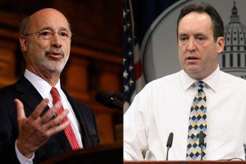Pennsylvania Governor Tom Wolf (left) and Senate Majority Leader Jake Corman (right) (AP Photos/Matt Rourke and Chris Knight)