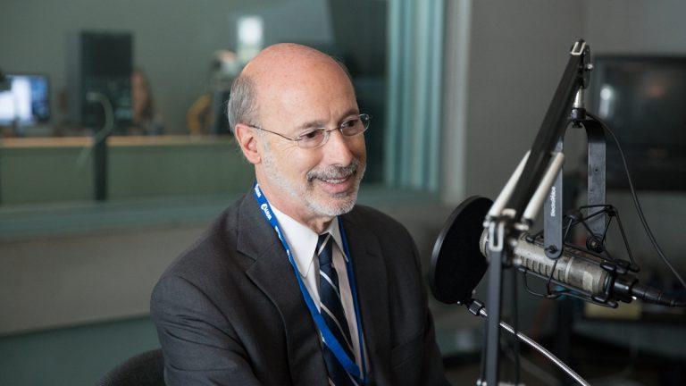 Democratic gubernatorial candidate Tom Wolf speaks to NewsWorks Tonight host Dave Heller at WHYY studios in Philadelphia, Pa. (Lindsay Lazarski/WHYY)