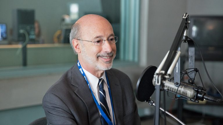 Democratic gubernatorial candidate Tom Wolf speaks to NewsWorks Tonight host Dave Heller at WHYY studios in Philadelphia. (Lindsay Lazarski/WHYY)