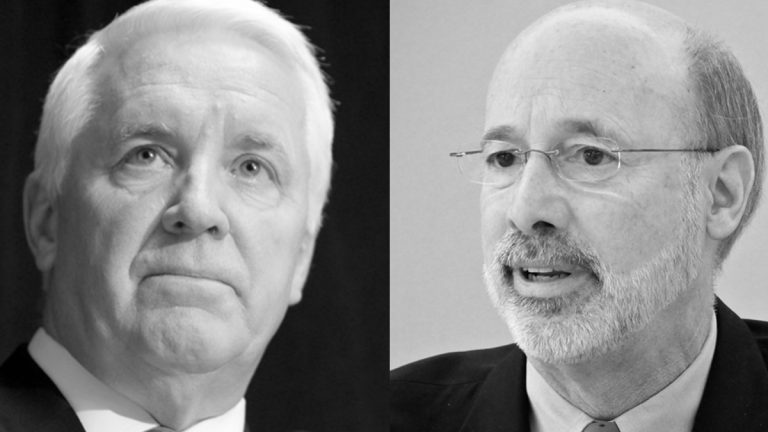Former Pa. Gov. Tom Corbett (left) and Pa. Gov. Tom Wolf (NewsWorks Image)