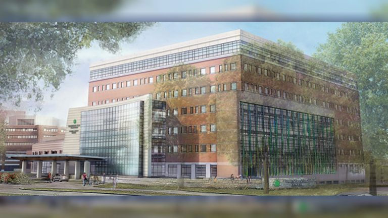 An artist rendering shows the new eight-story building planned at Christiana Hospital. (photo courtesy Christiana Care)