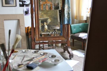 Sketches litter the paint-spattered floor of Andrew Wyeth's studio