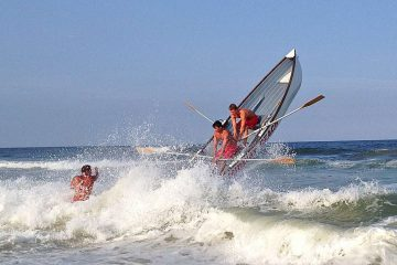 Lifeguards participating in the 2014 Seaside Park Lifeguard Tournament. (Justin Auciello/WHYY)