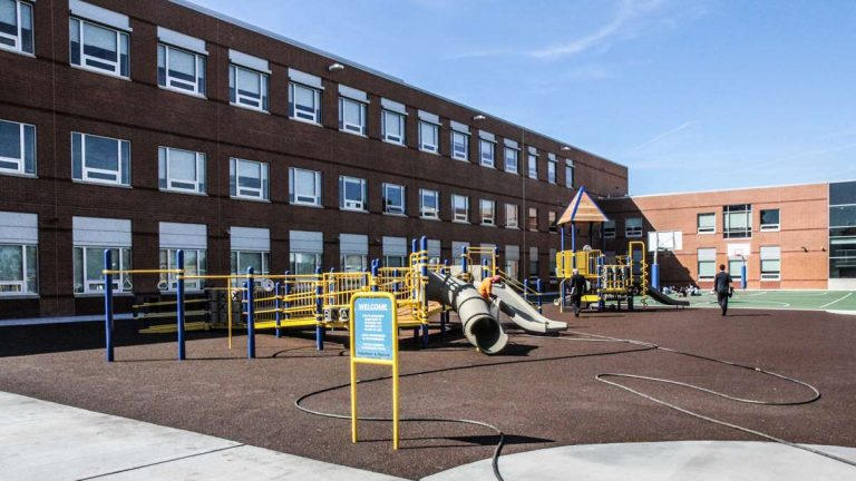 The recess yard at Kipp Cooper Norcross Academy in Camden. (Kimberly Paynter/WHYY)