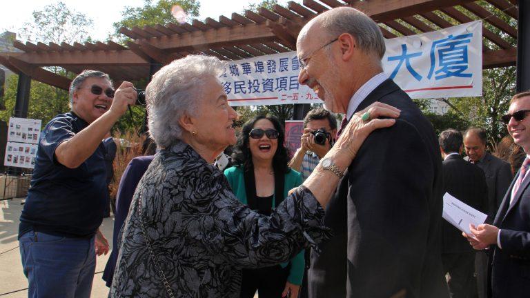 Gov. Tom Wolf greets Cecelia Yep