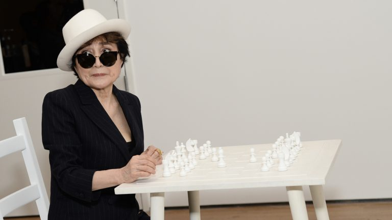 Yoko Ono is shown attending her 'One Woman Show' press preview at The Museum of Modern Art on Tuesday, May 12, 2015, in New York. (Photo by Evan Agostini/Invision/AP)
