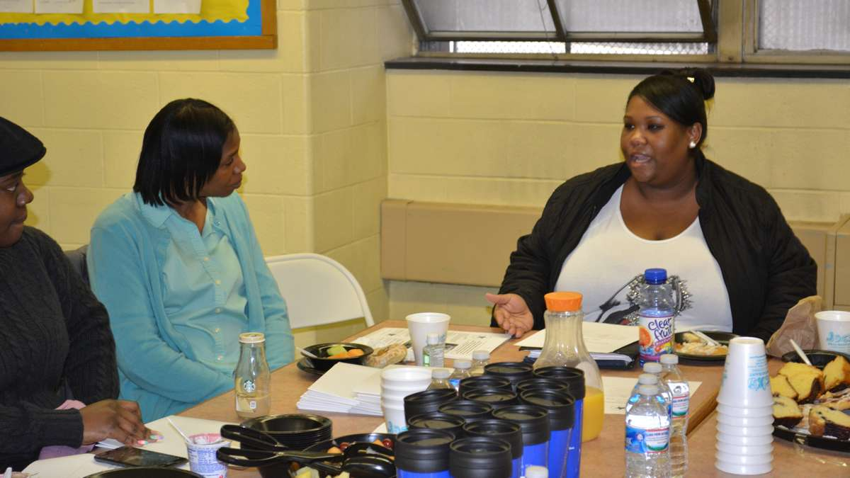 Parent Shereda  Cromwell (right) is furious about Scholar Academies' decision to leave Kenderton elementary. Depicted here