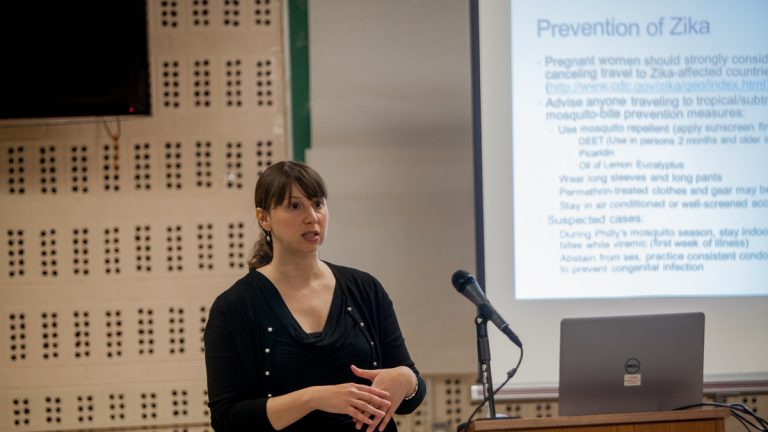 Dana Perella, the vector-borne disease surveillance coordinator for the city's Department of Public Health, leads a meeting on preventing the spread of the Zika virus should it make its way to Philadelphia. (Brad Larrison/for NewsWorks)