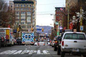 A view of downtown Scranton from N. Washington Avenue. (Jessica Kourkounis/For Keystone Crossroads)