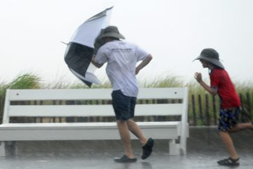 Hurricane Arthur brought heavy rain and some wind to Rehoboth Beach as it passed by the Delaware Coastal area on Friday July 4, 2014 with minor damage.  (Chuck Snyder for WHYY, file)