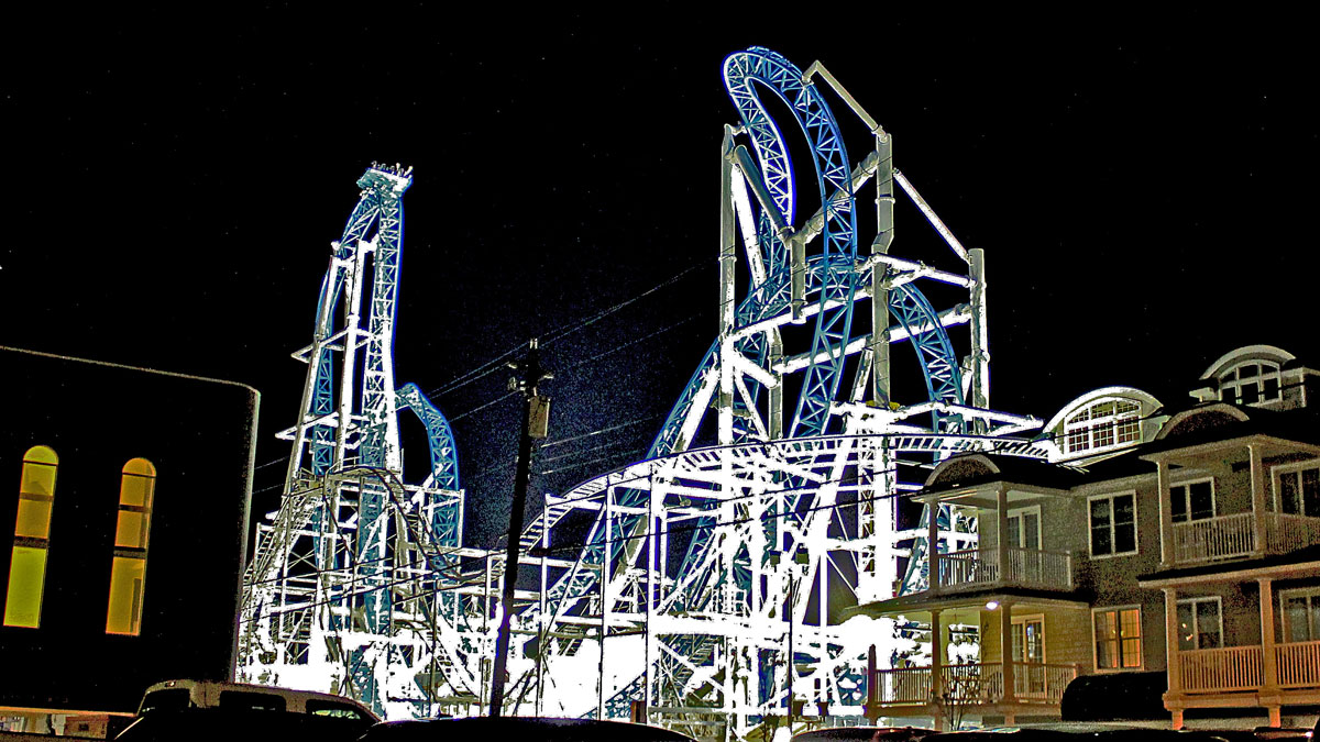 The Gale Force roller coaster at night.