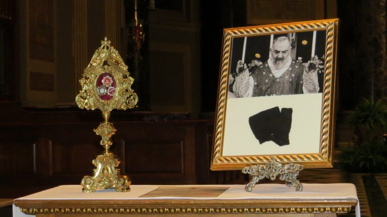 Relics of Padre Pio on display at the Catholic Cathedral of Saints Peter and Paul in Philadelphia (Rob Zawatski for NewsWorks)