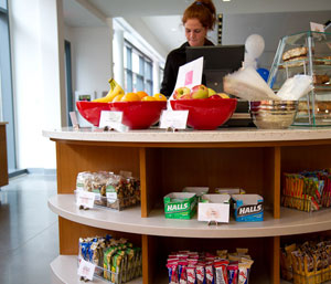 Fresh fruit is placed for convenience in Campbell's cafeteria.