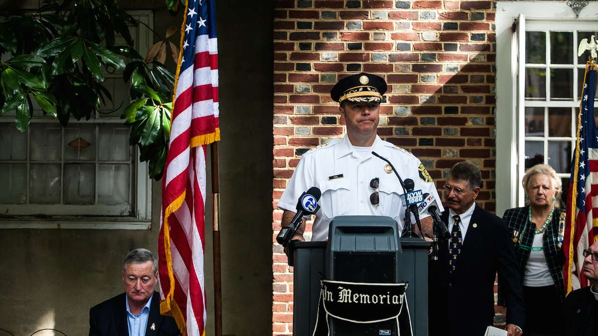Philadelphia Fire Commissioner Adam Thiel called for unity in a divisive time for the country in his speech honoring those who died on September 11th, 2001.