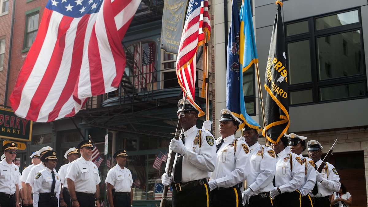 Members of the Philadelphia Prisons Honor Guard line up before marching on the 15th anniversary of the September 11th attacks on the World Trade Center.