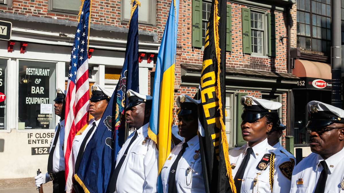 Philadelphia Prisons Honor Guard marches on Sunday September 11, 2016 to honor those who died responding to the terror attacks on the World Trade Center 15 years ago.