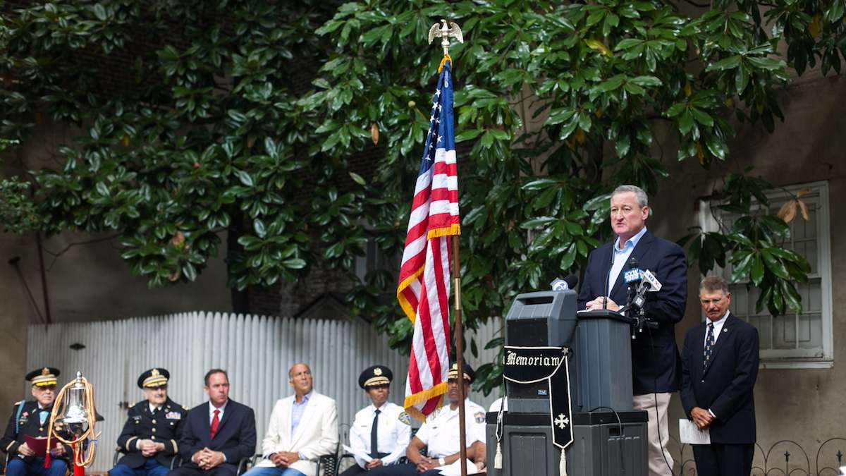 Mayor Jim Kenney spoke to firefighters and police on the 15th anniversary of the September 11th terror attacks.