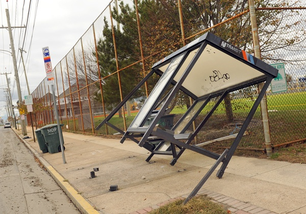 <p><p>An old bus stop was damaged by wind at Fairmont and Sovereign avenues. The city has installed 46 new bus stop structures that will withstand hurricane winds. (Photography by Peter Tobia/Atlantic City Alliance)</p></p>