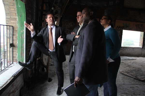 <p><p>Eric Blumenfeld (left) describes plans for improving the building's surroundings to George Farrell, special assistant to Pa. Sen. Lawrence Farnese; Masterman School parent Steven Bayne; and Karen Lewis, executive director of Avenue of the Arts, Inc. (Emma Lee/for NewsWorks)</p></p>