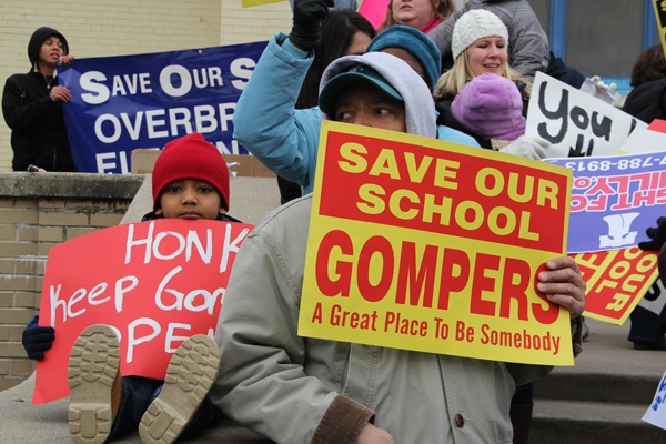 <p><p>About 150 parents and students gather in front of Gompers Elementary School for a rally and march against school closures. (Emma Lee/for NewsWorks)</p></p>