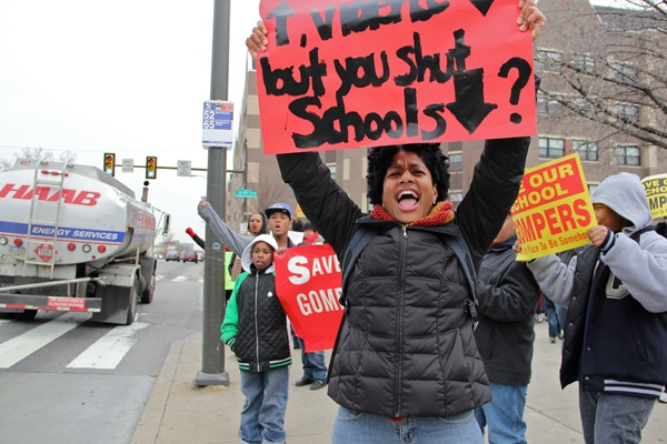 "<p><p>Lee Jones shouts to passing motorists on Lincoln Highway during a protest against school closings. She described the proposal to close Gompers and Overbrook elementary schools as ""despicable."" (Emma Lee/for NewsWorks)</p></p>"
