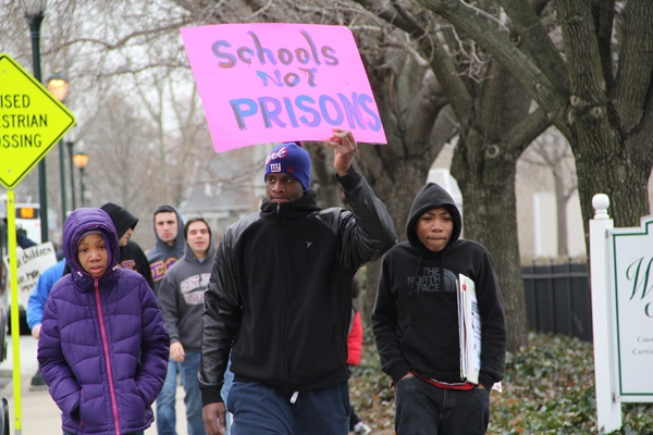 <p><p>Protesters marched in the cold for more than two hours with the hope of persuading the Philadelphia School District to keep Gompers and Overbrook elementary schools open. (Emma Lee/for NewsWorks)</p></p>