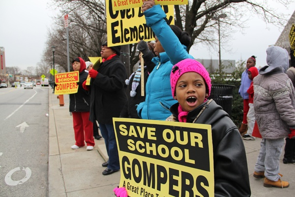 <p><p>Gompers School second grader Taylor Jenkins adds her voice to the school closing protest in West Philadelphia. She says she wants to help save her school and others. (Emma Lee/for NewsWorks)</p></p>