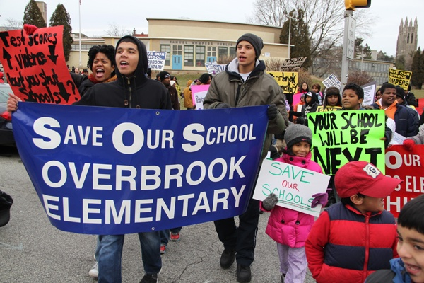 <p><p>Taking their message to the streets, about 150 parents and students march around their West Philadelphia neighborhood to protest the district's proposal to close Gompers and Overbrook elementary schools. (Emma Lee/for NewsWorks)</p></p>
