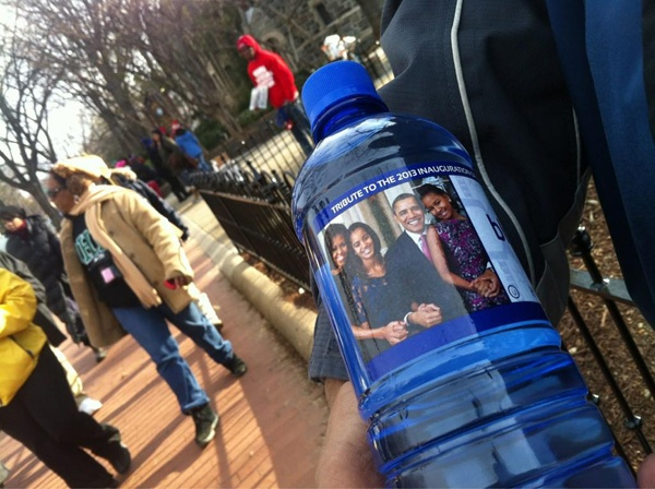 "<p><p>Heard on the walk to the Capitol: ""$2 Obama water won't make you holler."" (Kimberly Paynter/WHYY)</p></p>"