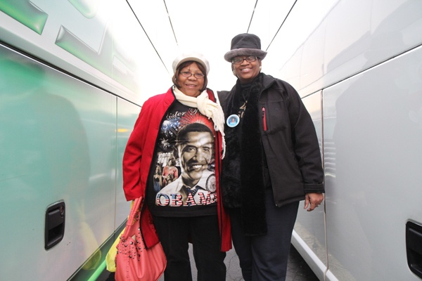 <p><p>Sharon Clark and Lorraine Watson with Delawareblack.com are decked out in presidential fan fare on the way to the inauguration. (Kimberly Paynter/WHYY)</p></p>