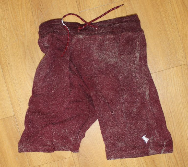 Police say the unidentified man was wearing these maroon Polo shorts. (Image courtesy of the North Wildwood Police Department)