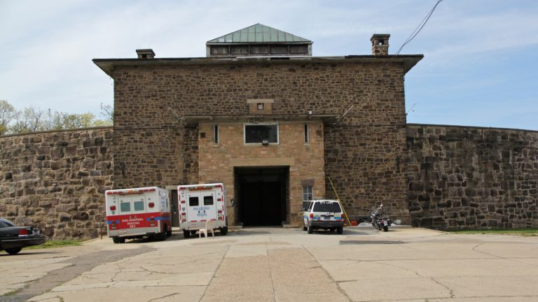 The crumbling Holmesburg Prison, the site of riots, rapes and murders in the 1970s, is the backdrop for the horror movie 'Death House.' (Emma Lee/WHYY)
