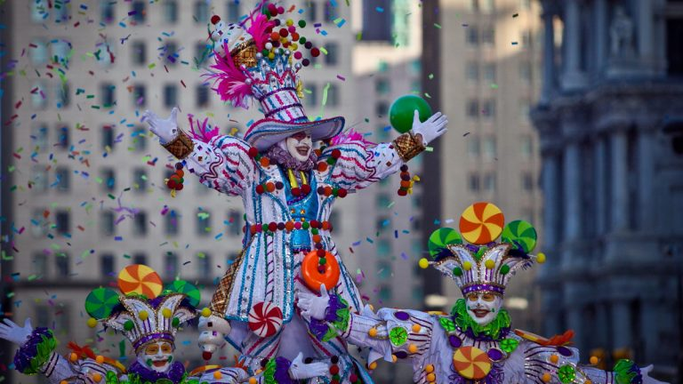 A South Philly String Band marches in the 2012 Mummers Parade in Philadelphia.  (Howard Pitkow / for NewsWorks)