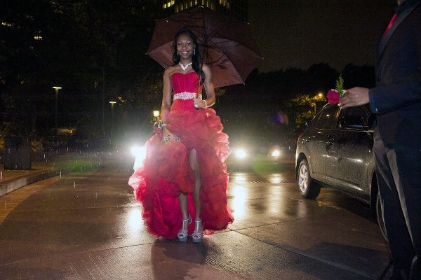 <p><p>14. Roxborough High student Chelsea made the grand entry of the night with rain and headlights in the background. (Bas Slabbers/for NewsWorks)</p></p>