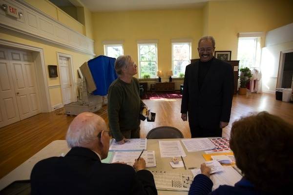 <p><p>Poll workers told Fattah that about 50 percent of voters had turned out before noon and wondered whether they'd be able to go home early. Fattah said they should not leave until they hit 100 percent. (Dave Tavani/for NewsWorks)</p></p>