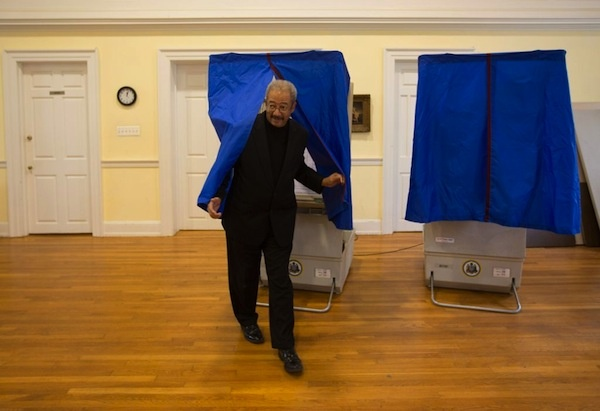 "<p><p>After voting at the Memorial Church of the Good Shepherd in East Falls at noon Tuesday, U.S. Rep. Chaka Fattah predicted President Barack Obama would win ""nine out of nine"" battleground states. (Dave Tavani/for NewsWorks)</p></p>"