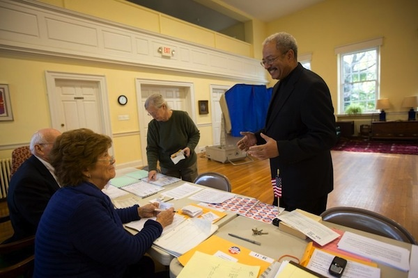 <p><p>U.S. Rep. Chaka Fattah did not bring his photo ID to the polling place on Election Day. (Dave Tavani/for NewsWorks)</p></p>