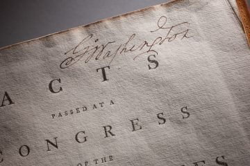 A new exhibit at the National Constitution Center explores how various presidents have wielded and tested presidential powers from 1789 to today.  Pictured: George Washington's Acts of Congress