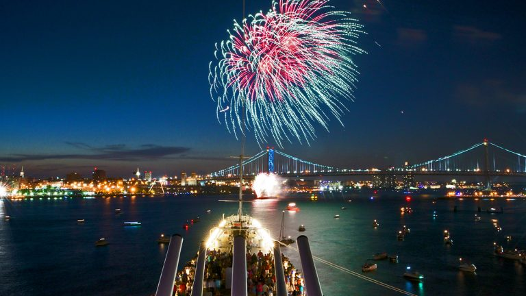 A view of the fireworks above the Delaware River from the upper decks of the USS New Jersey. (Bas Slabbers/for NewsWorks)