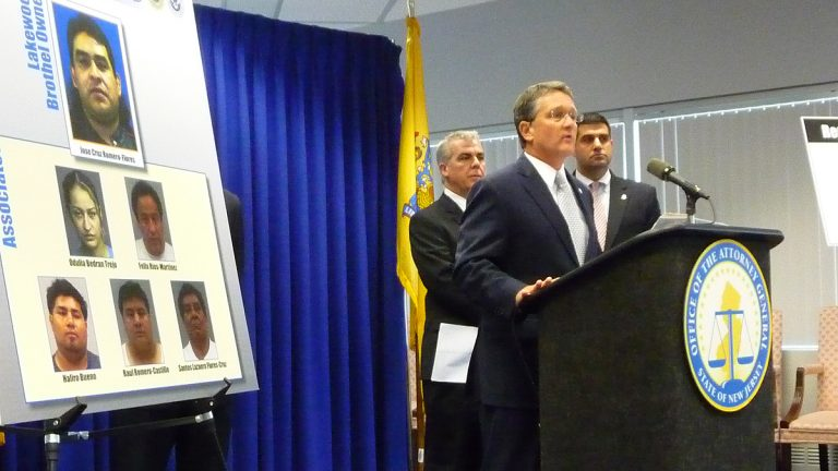 Acting New Jersey Attorney General John Hoffman announces the arrest of six people in connection with an international sex trafficking operation. (Alan Tu/WHYY)