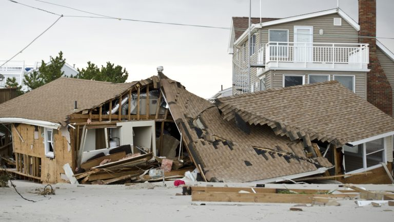 A house destroyed by Superstorm Sandy on Long Beach Island. (Photo from Shutterstock)