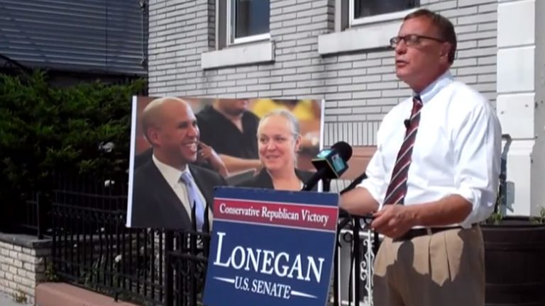 Republican U.S. Senate candidate Steve Lonegan appears in this campaign video blasting Cory Booker. (Image from Lonegan video campaign ad)