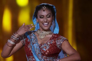 Miss New York Nina Davuluri performs a bollywood dance during Sunday night's competition.(AP Photo/Mel Evans)