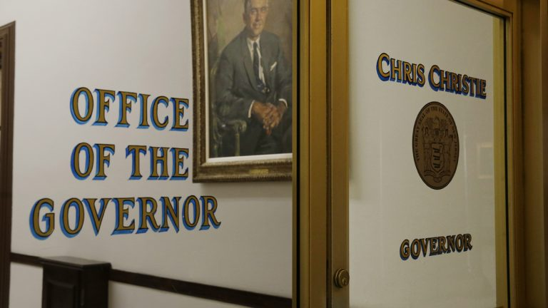 The office of New Jersey Gov. Chris Christie is seen in at the Statehouse in Trenton, N.J. (AP Photo/Mel Evans)